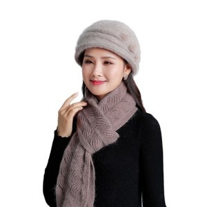 2019 New Autumn Mother Hat For Women Solid Color Fur Knitted Ladies Hats Thick Scarf Beret Female Beanies Headwear Cap