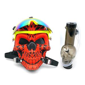 Masque à gaz Bong avec différents styles acrylique eau Shisha Pipes Masque silicone fumer Tabac Narguilé Tubes Livraison gratuite en gros