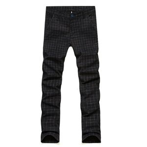 Men Slim Casual Trousers For Business Wedding Men Plaid Formal Dress Pants Spring Autumn Suit Pants Cotton Plus Size 29-37