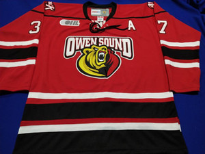 Retro Hockey Jersey High quality embroidery Customize Owen Sound Attack Road Embroidery Stitched Customize name Jerseys