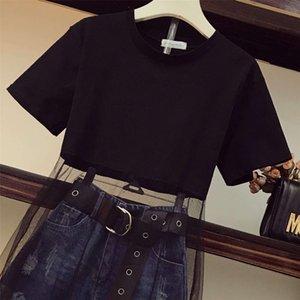 S-XL High Street Jeans Suit 2020 Summer Women Mesh Patchwork T-shirt Dress + Tassel Denim Shorts 2 Piece sets With Belt CX200702