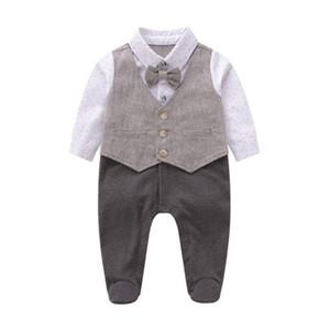 ancla bebé mameluco impreso niño niños arquea lazo chaleco falso de dos piezas monos F9446 niño ropa infantil niños recién nacidos del pañal de algodón para bebés