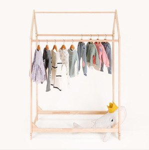Children's hanger children's clothing store solid wood middle island shelf small house hanger double hanging display shelf