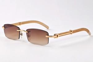 Großhandel-Designer randlose Sonnenbrille für Männer 2017 Mode Holz Bambus Retro Büffelhorn Brille braun schwarz Klarglas Objektiv Sonnenbrille