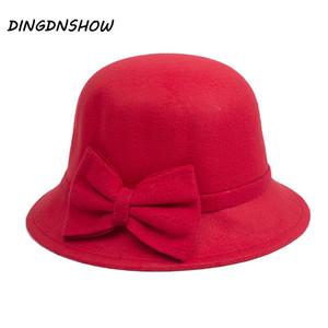 [DINGDNSHOW] 2019 Marque Fedora Chapeau Adulte Laine Belle bowknot Bowler capeline Lady Floral chapeau d'hiver chaud pour les femmes