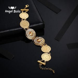 Turke Coin Bangles for Women's, Turk Coins Charms Bracelet Rhinestone,The Middle East Africa Jewelry Arab Men Never Faded