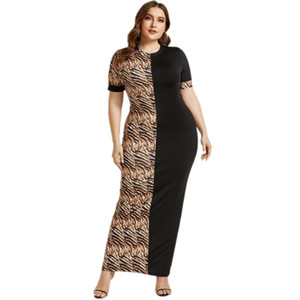 4XL 5XL Plus Size African Summer Maxi Long Dress Women Fashion Leopard Print Bodycon Maxi Dress Sexy Club Party Dresses Vestidos