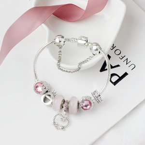 Wholesale- Charmekorn Legierung versilbert Armband geeignet für Pandora Stil O Brief Krone Perlen-Armband Schmuck