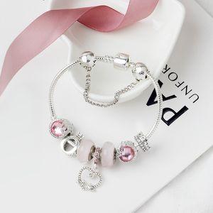 encanto Atacado talão de liga pulseira de prata banhado Adequado para contas estilo Pandora O carta coroa de jóias pulseira