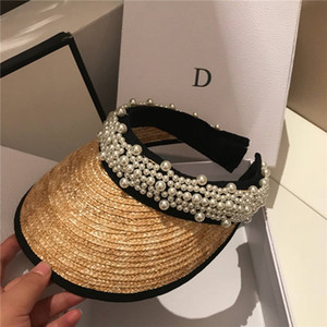 Casquillos de la perla de paja sin punta de vacaciones en Playa Sombrero para mujer Sombreros de ala ancha de alta calidad Sun sombrero de la marea pescador Sombreros