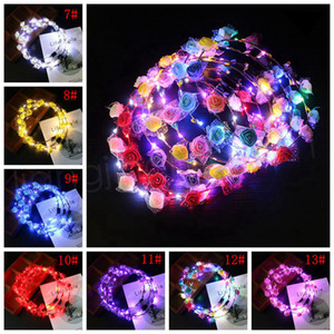 Réglable LED Flower Crown Light Up Guirlandes Hairband Fermoir Floral Head Hoop Bandeau headwears mariage Chirstmas Party Décor cadeau FFA3800a