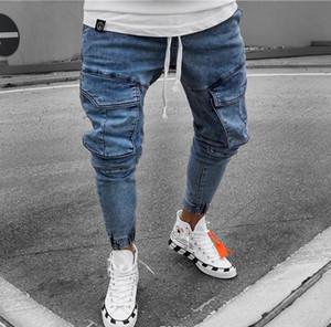 Diseñador Jeans para hombre flaco Bolsillos delgado azul claro para hombre de los pantalones del lápiz de la cintura para hombre de mediana Pantalones Largos