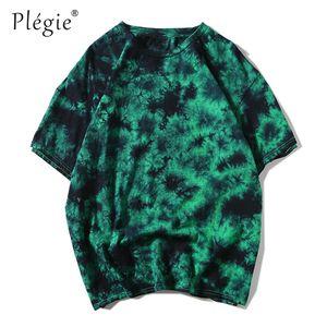 Plegie Kravat Boyama Hip Hop T-shirt Erkek Kadın 2018 Yaz Yuvarlak Boyun erkek Tişörtleri% 100% pamuk Tişörtlerin 6 Renkler