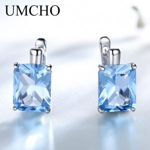 Umcho Luxury 8.0ct Sky Blue Topaz Joyas de piedras preciosas Sólido 925 Clip de plata esterlina en los pendientes para las mujeres regalo de cumpleaños moda MX190720