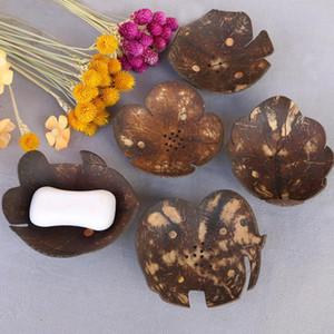 coquille de noix de coco créative Plats de savon forme des feuilles de coco Savons Support plateau évider trou salle de bains stockage conception mignonne conteneurs FFA3560-4