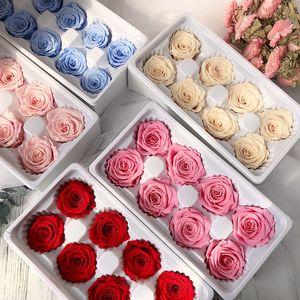 8 قطع المحفوظة الورود الأبدية رؤساء في مربع جودة عالية الجافة الطبيعية الطازجة الزهور للأبد روز المرأة الأمهات هدية عيد الحب