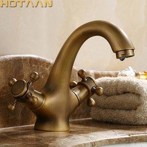 HOTAAN Prinç Bronz Çift Kol Kontrol Antik Musluk Mutfak Banyo Havzası Mikser musluk Robinet Antik YT-5021