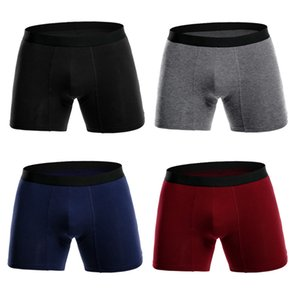 Erkek Underwears Boksörler Ücretsiz Toptan Eşya Erkek Spor Stil Kapalı Boksörler Breathale Külotlar 4PCS / Lot Katı Renkler Artı boyutu L-3XL