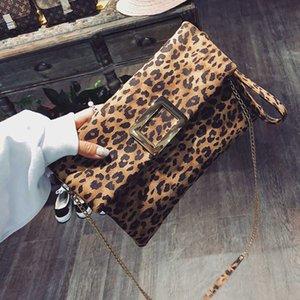 MANFUNI leopardo del sobre Embragues para las bolsas de Hombro de la cadena de la manera de la vendimia plegable PU Crossbody Bolsa para el bolso de embrague de las mujeres