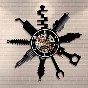 Auto Repair Shop Wall Вход Декоративное Современные настенные часы автомеханик Service Workshop Винил Часы Garage Ремонтник подарков Y200109