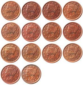 Moedas dos EU Conjunto completo (1839-1852) 14PCS datas diferentes para escolheram Trançado grandes Cents 100% moedas de cobre Copiar