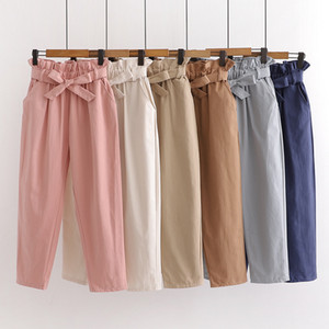 Summer Elastic Waist Casual Pants Women With Belt Cotton Harun Pants Womens Cotton Pink Ladies Wide