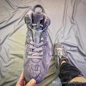 2018 baratos de los hombres zapatos de baloncesto KAWS VI 6 Kaws Enfriar las zapatillas de deporte gris azul azul Mejor calidad con la caja de los envíos libres