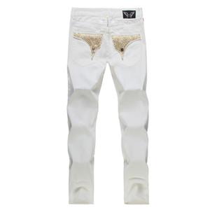 Pantalones vaqueros con la bandera de la moda americana para hombres Slim Denim Jeans rectos desgastados hombres Diseñador de moda Famosa marca biker jeans Plus Size 30-42
