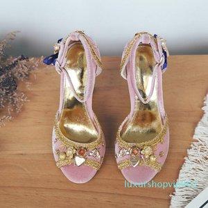 Bohemia Elegant Sandals Women Summer Shoes Chunky heels Velvet Retro Wedding Dress Party Shoes Open toe Summer Gladiators