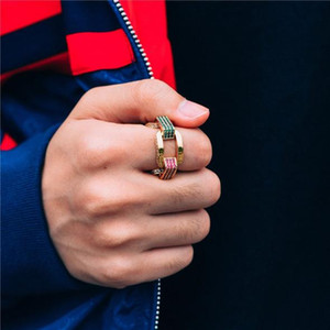 USA Size 8 9 10 الذهب مملوءة الملونة قوس قزح تشيكوسلوفاكيا الأخضر الأزرق الأحمر تشيكوسلوفاكيا المعبدة ميامي الكوبي ربط سلسلة النساء الرجال الصخور الهيب هوب خاتم الخطوبة