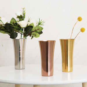 Stainless Steel Coffee Cups Round Port Flower Vases Portable Coffee Beer Mug Eco Friendly Drinking Cup Wedding Garden Decoration BH2137 CY