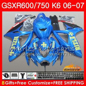 Corpo para Suzuki GSX R750 GSX R600 GSXR 600 750 GSXR750 06-07 8HC.101 GSXR-750 GSX-R600 K6 GSXR600 06 07 2006 Rizla Blue Hot Fairing Kit