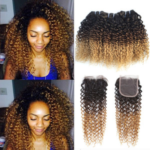 Brazilian Kinky Curly Ombre Human Hair 3 Pacotes com 4 * 4 Lace Fechamento 3 Tom 1B 4 27 # Loira Ombre Curly Virgin Weaves