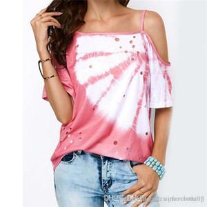 Gevşek acısını kemer Cacual Tişört Düzensiz Hollow Out Baskılı Kısa Kollu Tshirt Bayan Yaz deigner Giyim