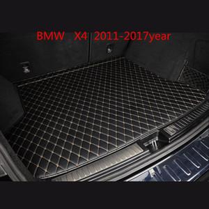 BMW X4 2011-2017year coche de la estera antideslizante estera de encargo antideslizante piso del coche de cuero alfombra de baúl adecuada