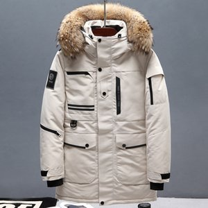 2019 Winter New Men Fur Collar White Duck Down Jacket Fashion Thick Warm Hooded Long Jackets and Coats Male Brand Clothing