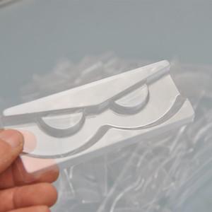 gros 100pcs / sac plastique plateau de jeu clair pour les cils boîte d'emballage plateaux de cils de vison de faux porte-insert acrylique transparent pour le cas