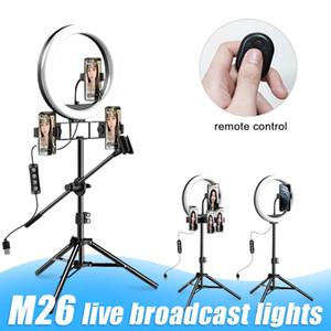 LED M26 10 pouces selfie Annulaire avec Trépied pour Live Streaming Youtube TikTok Vlog Dimmable LED Caméra Beauté Anneau lumineux