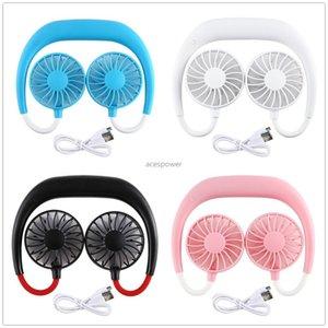 Paket Değil LED olmadan taşınabilir hands-free Boyun Bandı Eller Serbest Asma USB Şarj edilebilir İkili Fan Mini Hava Cooler Yaz