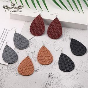 2020 Nouveau PU modèle en cuir Weave Waterdrop Dangle Boucles d'oreilles pour les femmes colorées Crochet en cuir ovale Boucles d'oreilles à la mode Bijoux cadeau