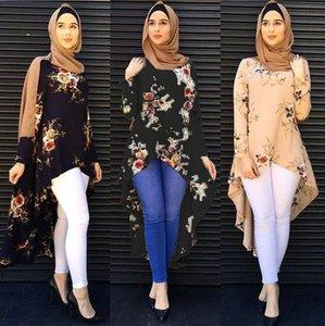 Musulman Abaya Robe Chemisier Tops Imprimer fleur en vrac Style Plus Taille Vêtements Moyen-Orient islamique à long Robes Jubah marocaine