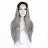 Free Shipping 24&#34 Ombre Gray Natural Wavy Long Wig Free Parting 180% Density Heat Resistant Glueless Synthetic Lace Front Wi