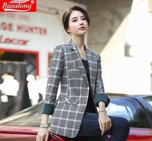 2020 лето весна мода женщин куртки плед двубортный Формальные Элегантные дамы Офис женщина Работа Coat интервью Blazer