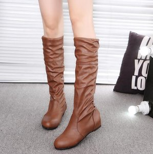 Free shipping large size explosion women's boots ladies boots European station solid color pleated high boots1