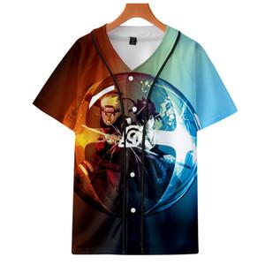 Erkek Moda 2019 Anime Naruto T-Shirt Baskı Kısa Kollu Beyzbol Gömlek Erkekler Japon Streetwear Erkek 3d Gömlek Yaz