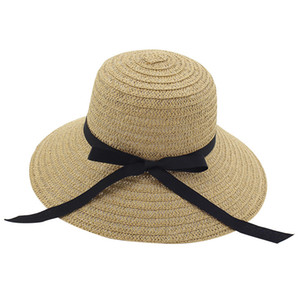 Summer Paper Straw Butterfly Knot Womens Beach Sun Berretti Ladies Casual Wide Brim Benna Hat Female Girls Pieghevole Sunhat Sombrero