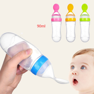 Baby Feeding Bottle With Spoon 90ml Silicone Newborn Infant Squeeze Spoon Toddler Supplement Cereal Bottle Milk Feeder