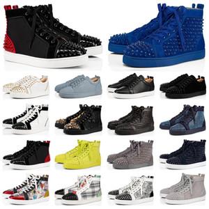 2020 Designer de Luxo Red Bottoms shoes Homens Mulheres Cravejado Spikes plataforma sapatilhas de couro Genuíno do vintage rebite ocasional Sapatilha