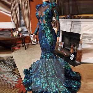 Langarm High Neck Prom Kleid Emerald Green Spitze Meerjungfrau Abendkleid 2020 Formale Kleider 2021 Perlen Vestido Sirena Largo