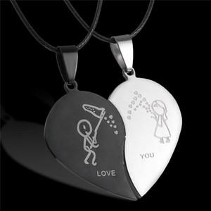 День Broken Heart ожерелья черный пару ожерелье из нержавеющей стали Гравировка Love You подвесками Ожерелье Валентина Пары Ювелирные изделия